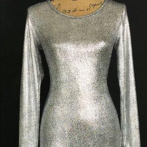 Lularoe Debbie Metallic Silver Bodycon Dress